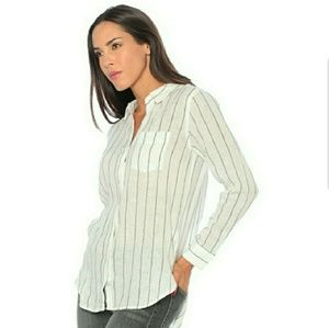 Rails Charli Shirt Button Down Linen Blend Stripe